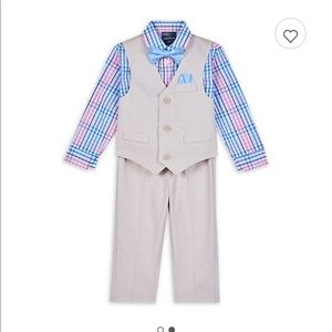 Nautica 4-Piece Oxford Vest, Plaid Shirt 6/9 month